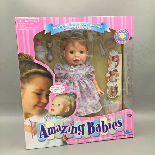 Vintage Playmates Amazing Babies Interactive Baby Doll Blonde Hair Blue Eyes