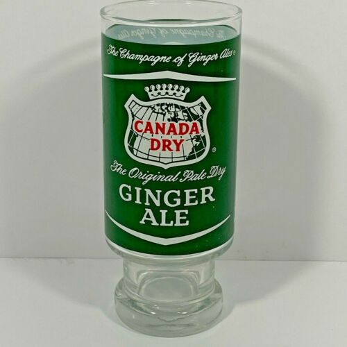 Vintage Canada Dry Ginger Ale Drinking Glass Champagne Footed