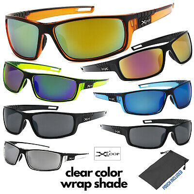 Men's Xloop Clear Color Frame Sports Wrap Small Face Biking Golf Sunglasses (Small Face Sunglasses)