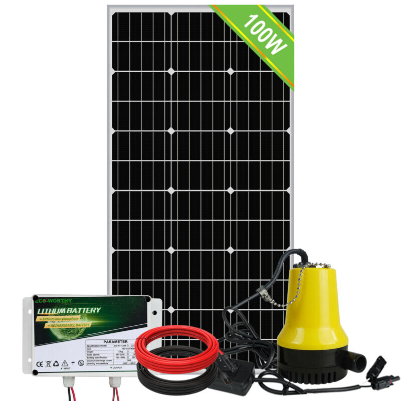 12V Solar Submersible Water Pump with Battery 100W Solar Panel - Pond Farm Home
