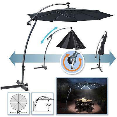 (10' Solar Powered LED Patio Umbrella OffSet Banana Cantilever Hanging Parasol)