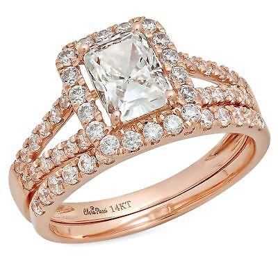 1.60 Ct Emerald Cut Halo Bridal Engagement Wedding Ring B...