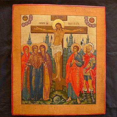 ALTE IKONE; OLD ICON; RUSSLAND RUSSIA; JESUS AM KREUZ; ORTHODOXE KIRCHE; 19. JH.