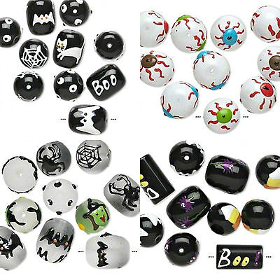 U Pick Lot 10 Hand painted Spooky Halloween Glass Beads](Halloween Window Paintings)
