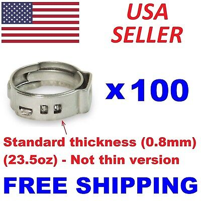 100 34 Pex Stainless Steel Clamps Cinch Pinch Rings Astm Nsf Certified Ssc-3