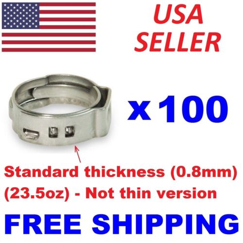 "(100) 3/4"" PEX Stainless Steel Clamps Cinch Pinch Rings ASTM NSF Certified SSC-3"