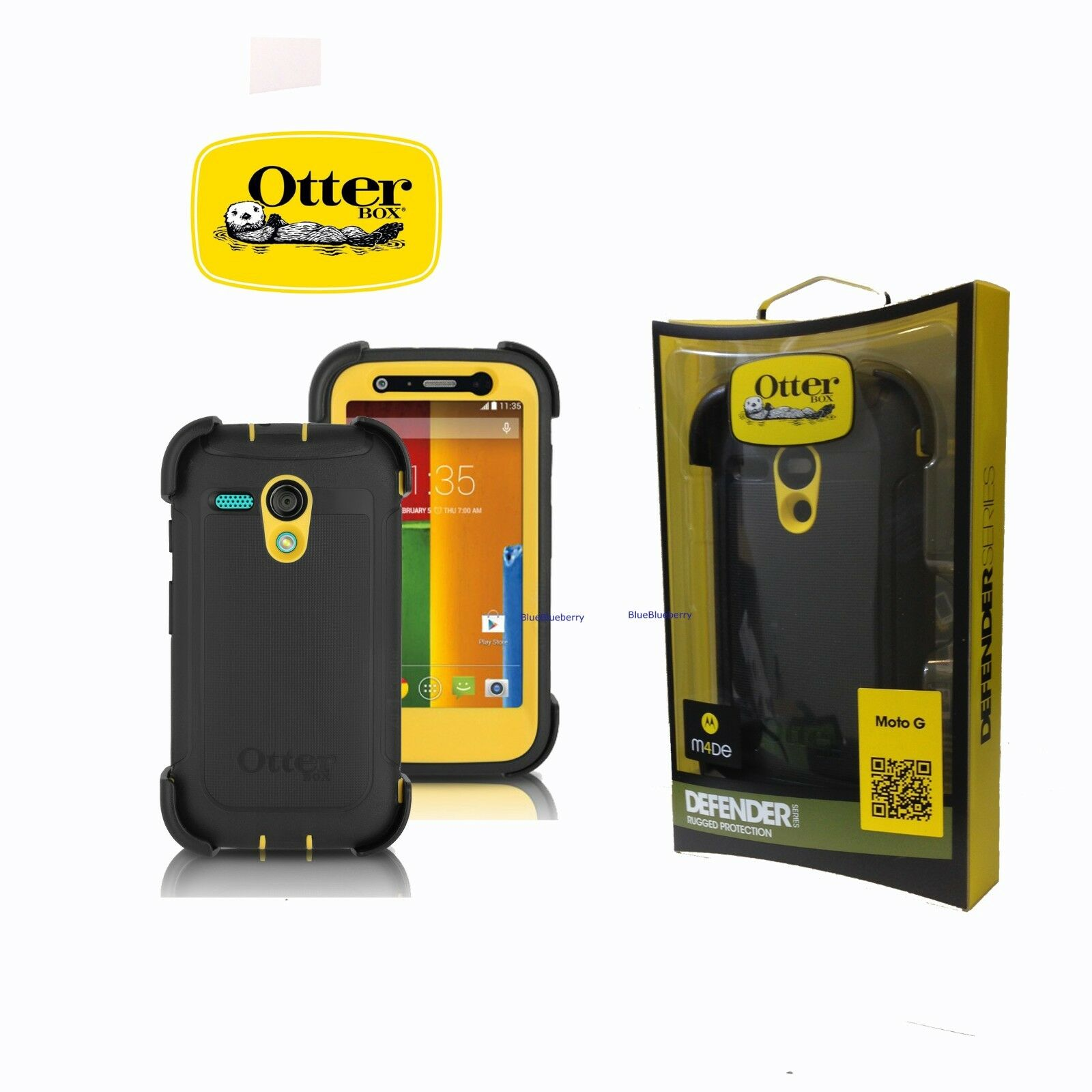 New OtterBox Defender Series Case for Motorola Moto G, Black Yellow 77-33030