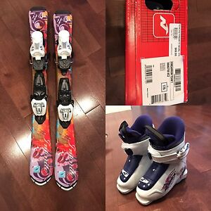 Kids downhill ski package - 80 cm skis + boots and bindings
