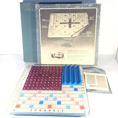 1977 Scrabble Deluxe Edition USA Blue Box Selchow & Righter Turntable Base VTG