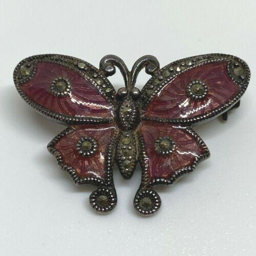 Vintage Sterling Silver 925 Enamel Marcasite Butterfly Brooch Pin