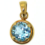 14k Yellow Gold Blue Topaz Pendant