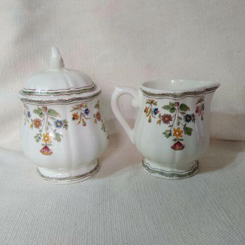 GIEN FRANCE Moustiers Olerys Lidded Sugar Bowl & Creamer Set Floral Leaf  Motif
