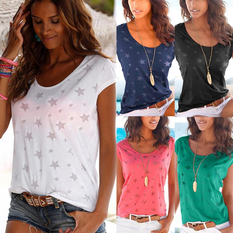 Damen Sommer Kurzarm Shirts T-shirt Bluse V-Ausschnitt Tunika Oberteil Top 34-42