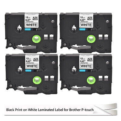 4pk Label Tape For Brother P-touch 12mm Black On White Tz231 Tze231 Brother Tape
