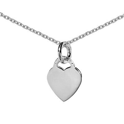 Sterling Silver Classic Charm Small Designer Inspired Heart Tag Pendant Necklace - Hearts Small Ticket