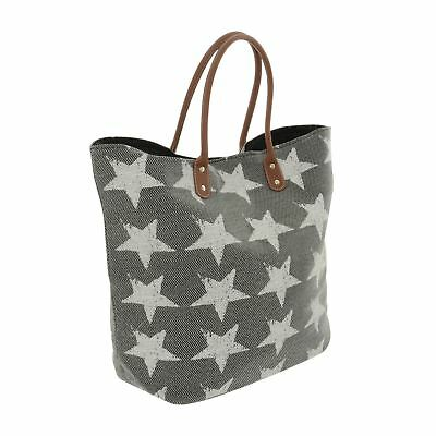 White Stars Black Paper Straw Beach Bag PU Leather Handles Holiday Tote Shopper