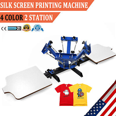 4 Color 2 Station Silk Screen Printing Machine Press Kit T-shirt Equipment Diy