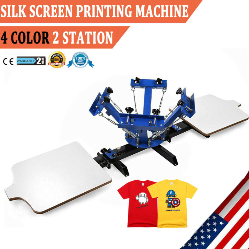 4 Color 2 Station Silk Screen Printing Press Machine Equipment T-Shirts DIY
