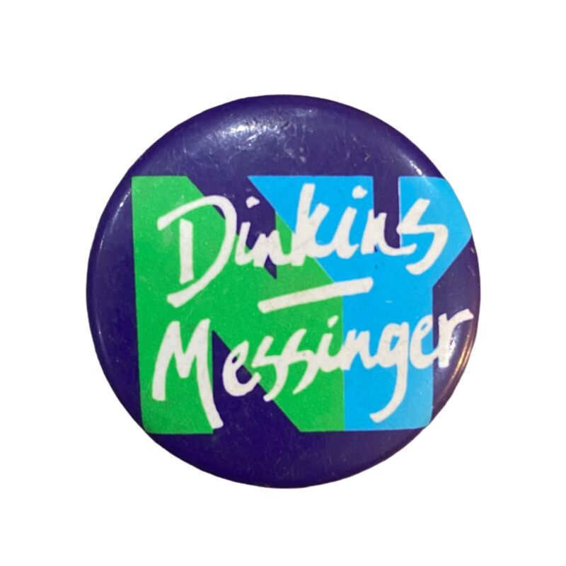 VTG 1989 David Dinkins Ruth Messinger Button Pin NYC Mayor Campaign Race RARE
