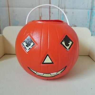 Vintage Halloween Blow Mold Pumpkin Candy Bucket Jack O Lantern w/ Stickers