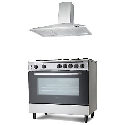 Servis 90cm Gas Range Cooker & Chimney Cooker Hood Pack in Stainless Steel