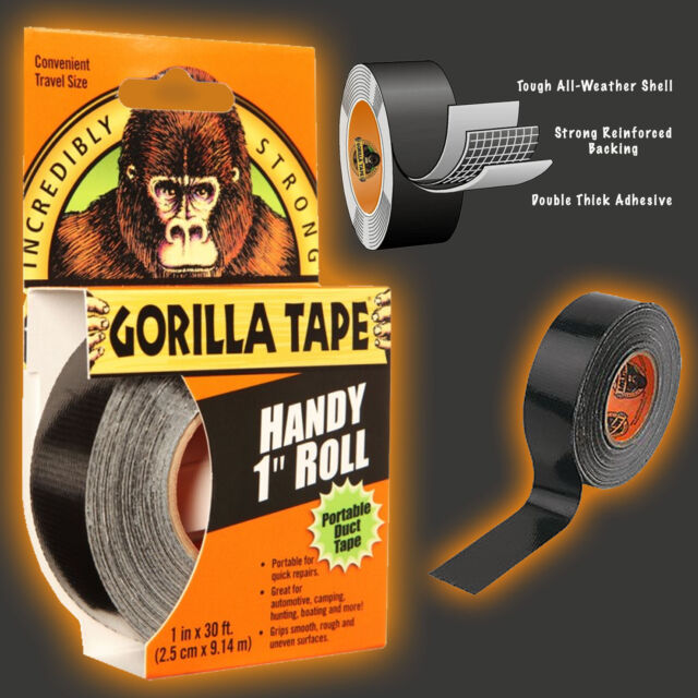 Gorilla Tape 9.14m Handy Roll Duct Tape Black Incredibly Strong Tough & Thick