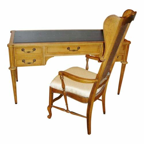 Mid-Century Leather Top Desk and Chair Maple and made by Thomasville