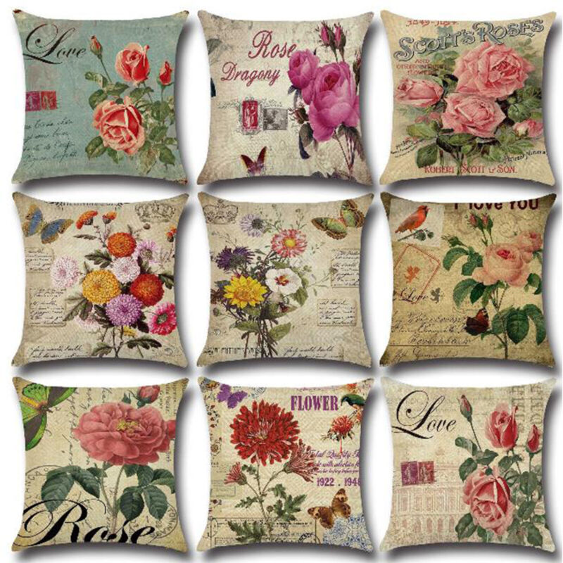 Vintage Floral Printed Throw Pillow Case Waist Cushion Cover
