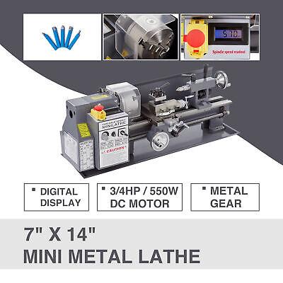 7 X 14 Mini Metal Lathe Machine 550w 34hp 5 Tools Digital Readout Upgraded