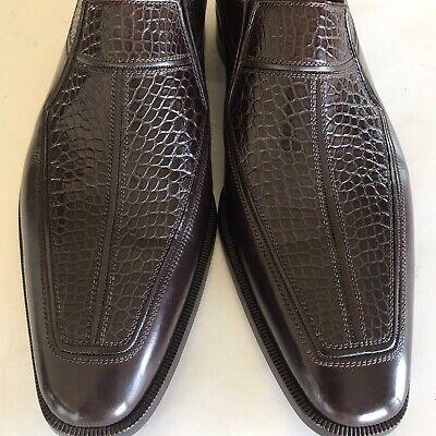 a.testoni Black Label Men's New Crocodile & Leather Shoes 9.5