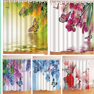 Romantic Flower and Butterfly Shower Curtain Bathroom Waterproof Fabric & Hooks - Butterfly Bathroom