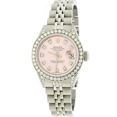 Rolex Datejust 26mm Steel Jubilee Diamond Watch w/Ice Pink Dial