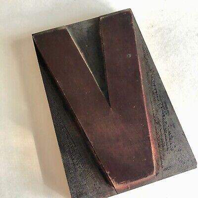 Letter V Vintage Letterpress Print Block Wood Type 6 Wood