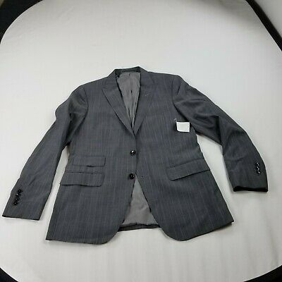 Zara Suit Jacket  42R Regular Pinstriped Gray aa