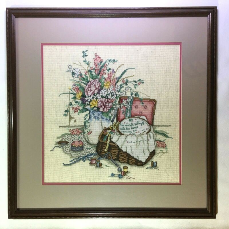 """Finished Framed Cross Stitch • Paula Vaughan • """"The Embroiderer"""" • 22"""" x 22"""""""