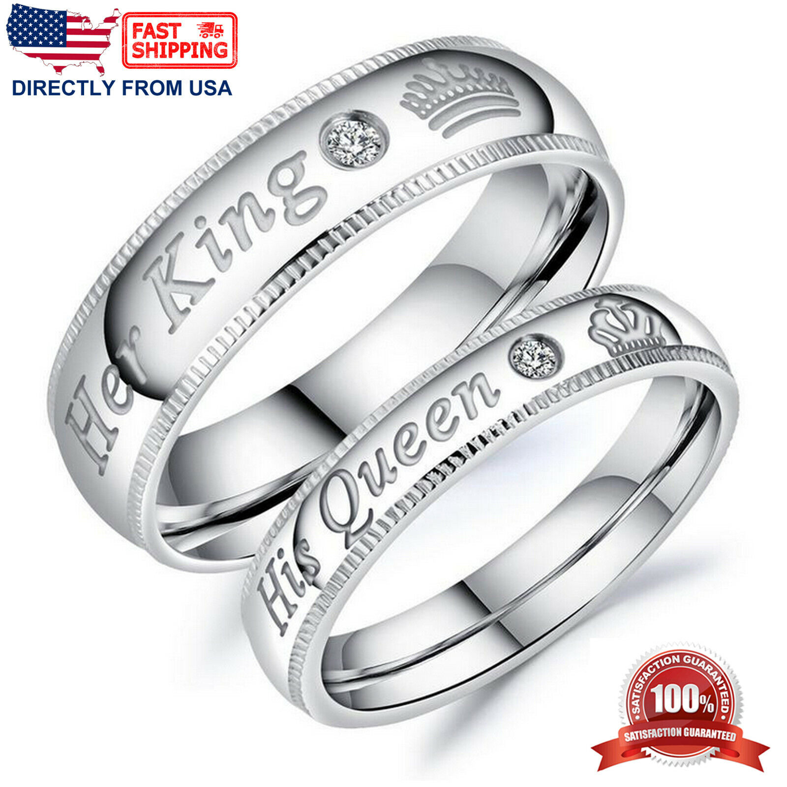 Her King or His Queen Couple's Matching Promise Ring Comfort Fit Wedding Band Fashion Jewelry