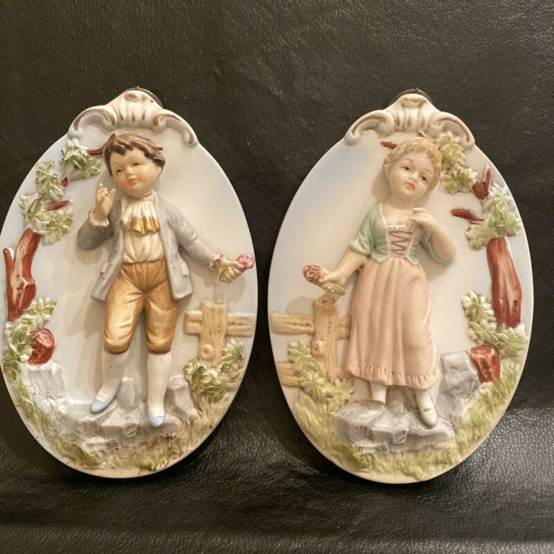 Ardco Victorian Plaques Boy Girl Vintage ceramic wall hanging See Description