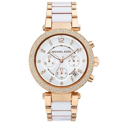 Michael kors Ladies rose gold parker watch MK5774 with white central links