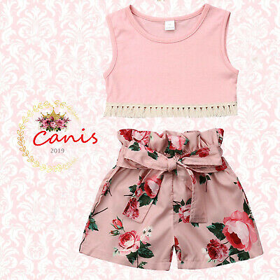 For Kid Baby Girls Summer Clothes Vest Tops Floral Shorts Pants 2PCS Outfits Set (Kids Outfits For Girls)
