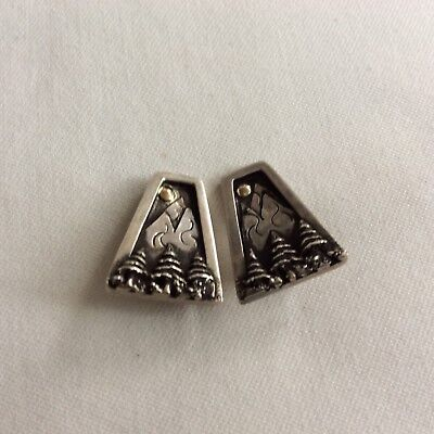 Sterling Silver Storyteller X-mas Theme Trees Mountains Moon Clip On Earrings ](Christmas Dress Up Themes)