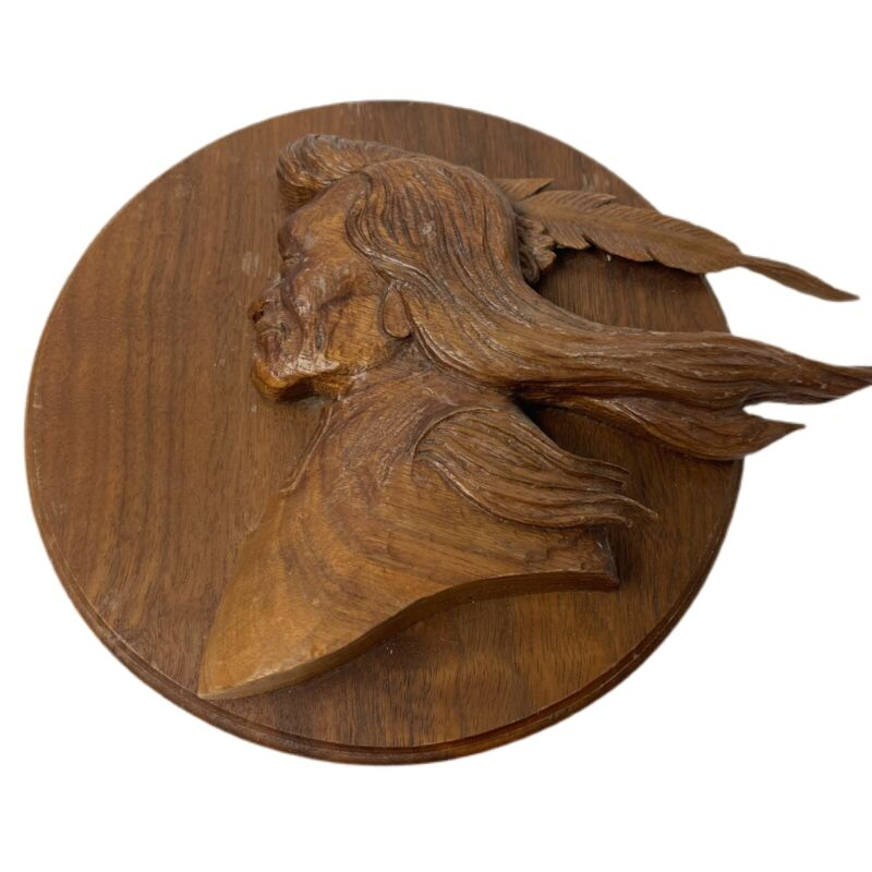 Patch Peterson Artist Hand Carved Native American Head Plaque