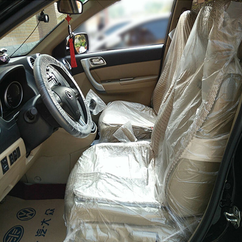 200 x DISPOSABLE PLASTIC CAR SEAT COVERS VEHICLE PROTECTORS MECHANIC VALET ROLL