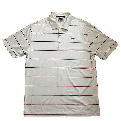 Nike Tiger Woods Collection Dri Fit Golf Polo Shirt Striped Mens Size Medium M
