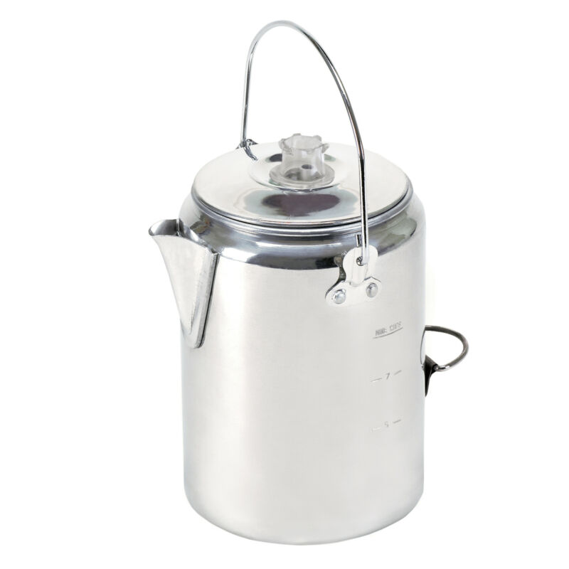 STANSPORT 9 CUP PERCOLATOR COFFEE POT ALUMINUM CAMPING OUTDOOR STOVETOP RV NEW