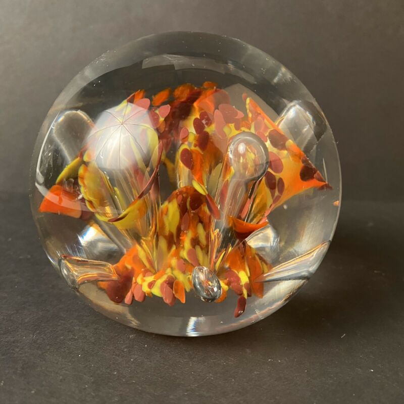 VTG St.Clair Art HandBlown Glass Paperweight Scrambled Cane Millefiori MCM