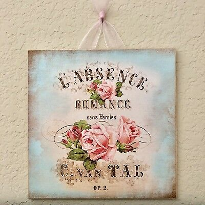 Good Paris Shabby Romance Rose Plaque Sign Wall Decor French Country Chic