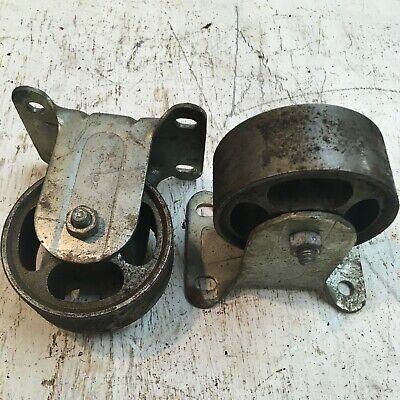Lot Of 2 - Vintage Payson Industrial Caster Wheels 3 Diameter