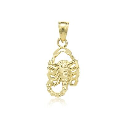 14K Solid Yellow Gold Scorpion Pendant - Scorpio Zodiac Necklace Charm Women Men