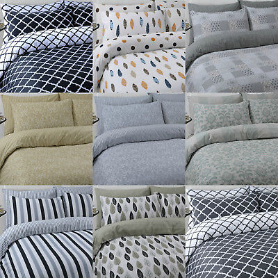 Luxury 100% pure cotton reversible printed duvet quilt cover bedding set