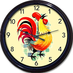 Rooster Wall Clock Kitchen Tuscany Country French Farm Colorful New 10